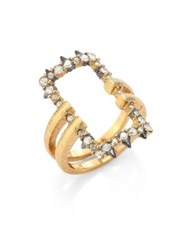 Alexis Bittar Crystal Encrusted Oversized Link Ring Gold