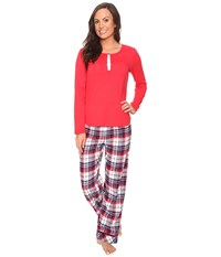 Jockey Pj Set With Flannel Plaid Pants Holiday Tartan Women's Pajama Sets Red