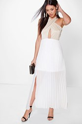 Boohoo Cross Over Top Detail Pleated Maxi Dress Stone
