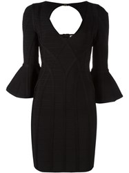 Herve Leger Flared Sleeve Fitted Dress Black