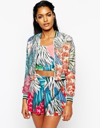 Clover Canyon Carnvial Bomber Jacket In Feathered Chiffon Multi
