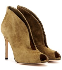 Gianvito Rossi Vamp Suede Peep Toe Ankle Boots Green