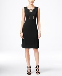 Inc International Concepts Sleeveless Lace Up Sheath Dress Only At Macy's Deep Black