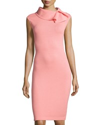 St. John Santana Knit Cap Sleeve Sheath Dress Nectar