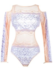 Janiero Lace Bodysuit Pink Purple