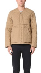 Monitaly Herringbone Cotton Quilted Utility Jacket Khaki