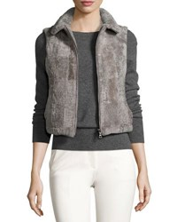 Adrienne Landau Cropped Shearling Vest Taupe