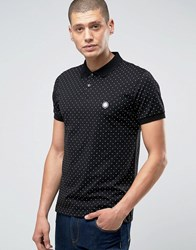 Pretty Green Polo Shirt With Polka Dot In Slim Fit Black Black