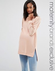 Bluebelle Maternity Striped Funnel Neck Jumper Blush Pink