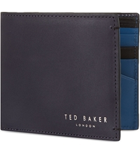 Ted Baker Leather Bifold Wallet Dark Blue