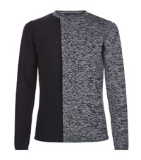 Armani Jeans Contrast Knit Sweater Male Grey