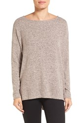 Gibson Women's Ballet Neck High Low Pullover Heather Pink
