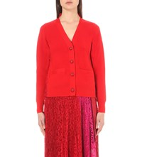 Sacai Floral Lace Wool Cardigan Red