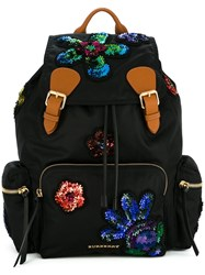 Burberry Sequinned Patches Backpack Black