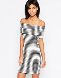 Asos Mini Bardot Off Shoulder In Stripe With Short Sleeve Blackwhite
