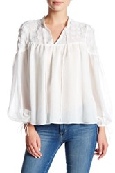 Endless Rose Sheer Floral Applique Caftan Blouse White