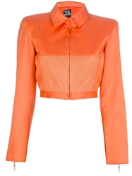 Claude Montana Vintage Cropped Mesh Detail Jacket Yellow And Orange
