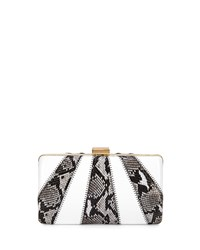 Franchi Jen Snake Embossed Evening Clutch Bag Natural White