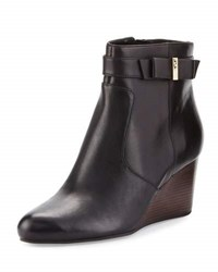 Cole Haan Elsie Leather Bow Wedge Bootie Black