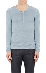John Varvatos Overdyed Henley Sweater Blue