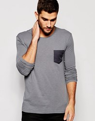 United Colors Of Benetton Long Sleeve Top In Slub Fabric With Pocket Grey