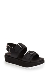 Hunter Double Buckle Mid Flatform Sandal Women Black