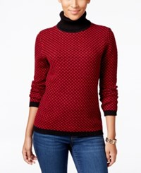 Karen Scott Petite Patterned Turtleneck Sweater Only At Macy's New Red Amore Combo