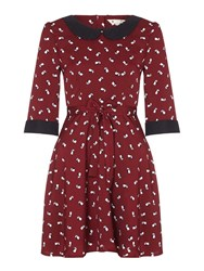 Yumi Raccoon Day Dress Red
