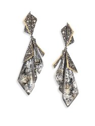 Alexis Bittar Crystal Encrusted Layered Origami Clip On Earrings Antique Silver