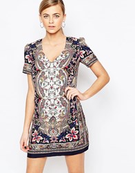 Oasis V Neck Paisley Print Shift Dress Multi