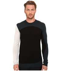 Mcq By Alexander Mcqueen Colour Block Crew Neck Grey Viridian Black Men's Long Sleeve Pullover