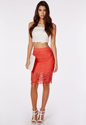 Missguided Lace Sheer Hem Midi Skirt Coral Pink