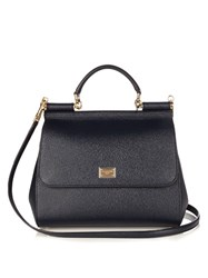 Dolce And Gabbana Sicily Leather Tote Navy