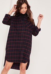 Missguided Checked Oversized Shirt Dress Navy Blue