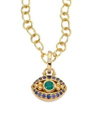Temple St. Clair Evil Eye Diamond Emerald Blue Sapphire And 18K Yellow Gold Pendant