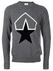 Moncler Logo Print Sweater Grey