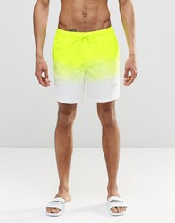 Asos Mid Length Swim Shorts In Neon Yellow Dip Dye Yellow