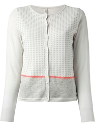 Antipast Checked Knit Cardigan White
