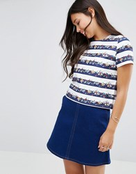 Sugarhill Boutique Spring Bloom Top Navy White