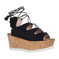 Carvela Kooper Ghillie Cork Wedge Sandals Black Suede