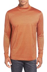 Men's Bugatchi Long Sleeve Mock Neck T Shirt Pumpkin