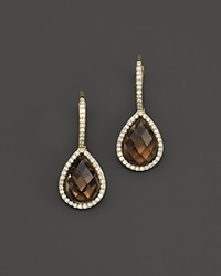 Bloomingdale's Smokey Topaz And Diamond Drop Earrings In 14K Yellow Gold Brown Gold