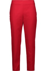 M Missoni Cropped Cotton Blend Tapered Pants Claret