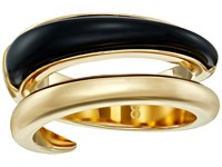 Michael Kors Autumn Luxe Acetate And Stainless Steel Bypass Ring Gold Black Ring