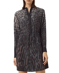 Allsaints Sanko Sinai Silk Shirt Dress Taupe