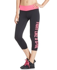 Ideology Breast Cancer Research Foundation Cropped Leggings Only At Macy's Noir