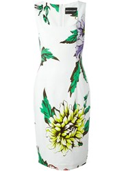 Marco Bologna Flower Print Fitted Dress White