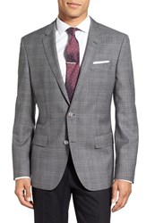 Boss Men's 'Hutsons' Trim Fit Plaid Wool Sport Coat Grey