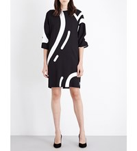 Max Mara Rete Heart Print Stretch Crepe Dress Black White