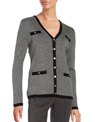 Karl Lagerfeld Ribbed Button Front Cardigan Grey